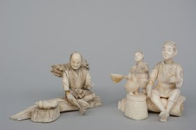 Two Japanese Ivory Okimono Of A Father With Child And A