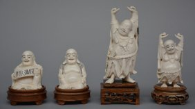 Four Chinese Ivory Budai, On Wooden Base, Scrimshaw