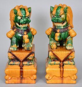A Pair Of Chinese Sancai Decorated Terracotta Temple