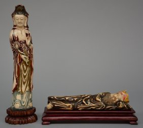 Two Chinese Ivory Sculptures, Figuring A Guanyin And A
