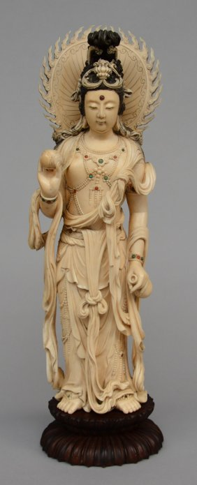 A Chinese Ivory Guanyin, Scrimshaw Decorated, Inlaid