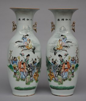 A Pair Of Chinese Polychrome Vases, Decorated With