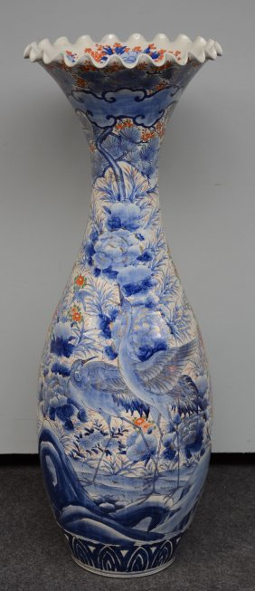 A Large Japanese Polychrome Vase, Decorated With