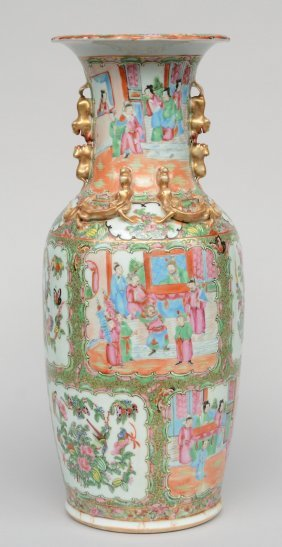 A Chinese Canton Vase, Decorated With Relief, 19thc, H