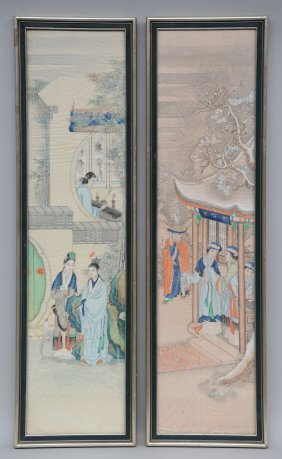 Two Chinese Watercolours On Silk, Depicting Animated