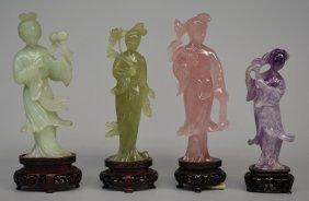 Four Chinese Court Ladies, Various Semi-precious