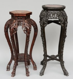 Two Chinese Richely Carved Wooden Stools, One Inlaid