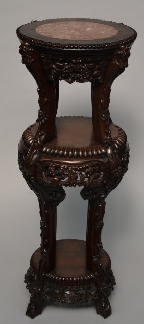 A Chinese Carved Hardwood Stool With Marble Top, Ca.