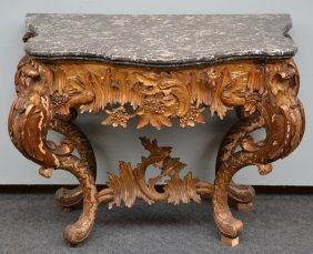 A Richly Carved Gilt Walnut Console Table Lxv With Grey