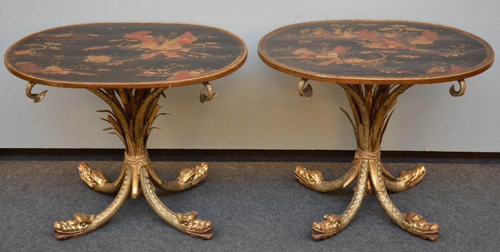 An exceptional pair of Chapuis occasional tables, the