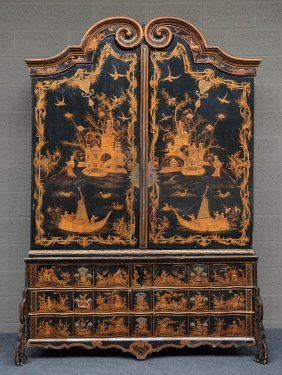 An Exceptional Dutch Cabinet In Black Lacquer,