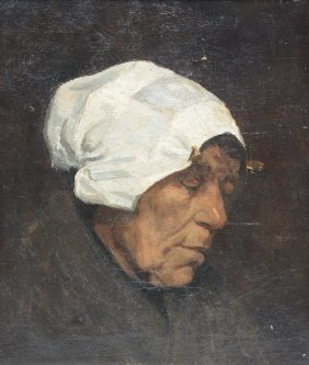 Unsigned, An Old Woman, Oil On Canvas, 30 X 35 Cm