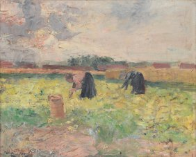 Van Strydonck G., Potato Harvest, Dated 1902, Oil On