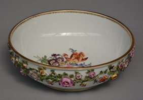 A Polychrome Meissen Porcelain Bowl With Floral Relief