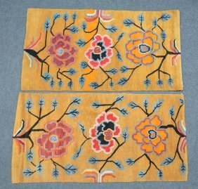 A Pair Of Oriental Wool Carpets With Floral Decoration,