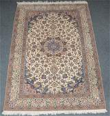 An Oriental rug decorated with animals and floral