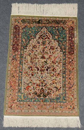 An Oriental Rug, Silk And Gold Thread, Signed, 91 X