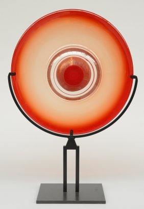 A Decorative Murano-glass Disc On A Metal Base,ca.
