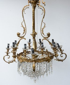 A Fine Lxv-style sac à Perles Chandelier With Gilt