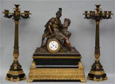 A rare Neoclassical gilt and patinated bronze mantel