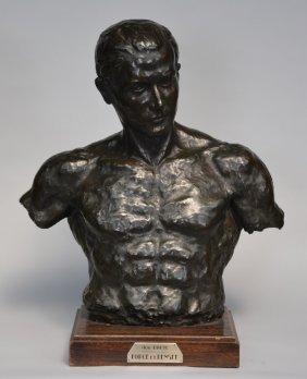 Boute Aug., 'force Et Pensée', Bronze On A Wooden Base,