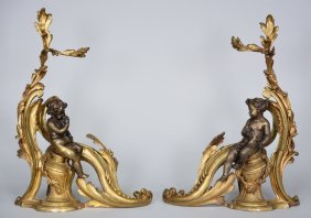 A Pair Of Lxv-style Gilt Bronze Andirons, 19thc, H 55 -