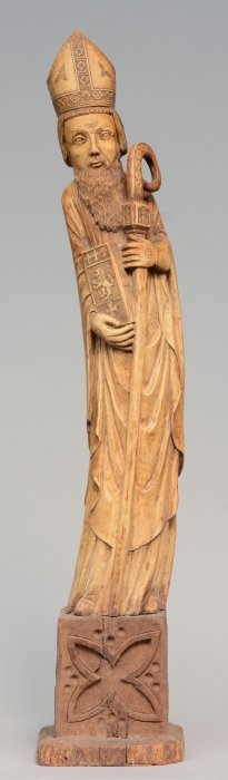 Ivory Bishop Statue On A Wooden Base, First Half 20thc,