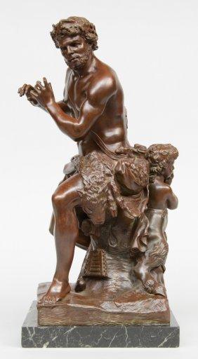 Coysevox A., Faun And Satyr, Dated '1709', Bronze On