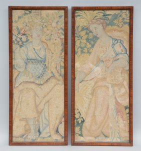 Two Framed Fragments Of A 17thc Tapestry, 29,5 X 73,5