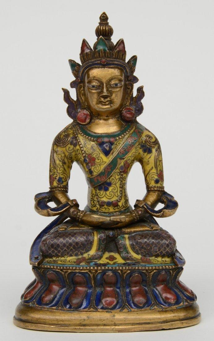 Tibetan cloisonné seated Buddha (Amitayus), 18thC, H