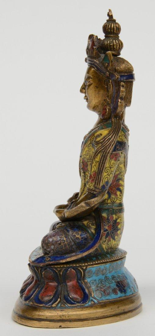 Tibetan cloisonné seated Buddha (Amitayus), 18thC, H - 2