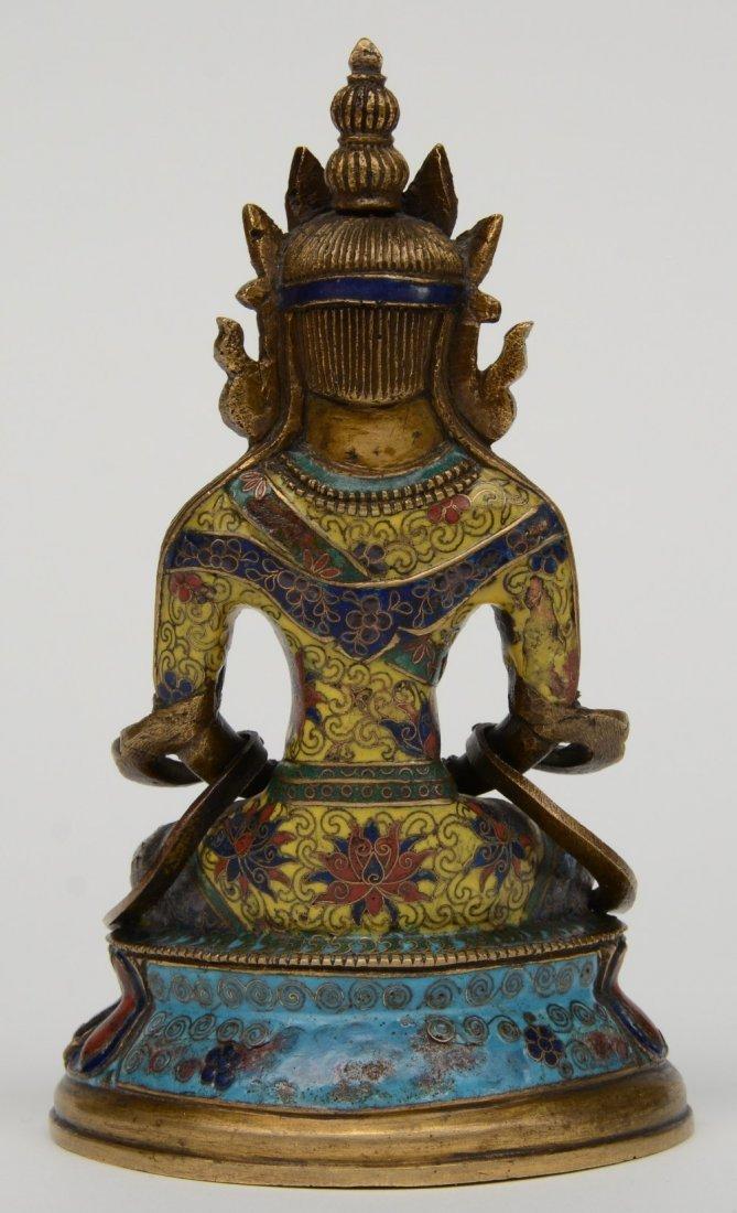 Tibetan cloisonné seated Buddha (Amitayus), 18thC, H - 3