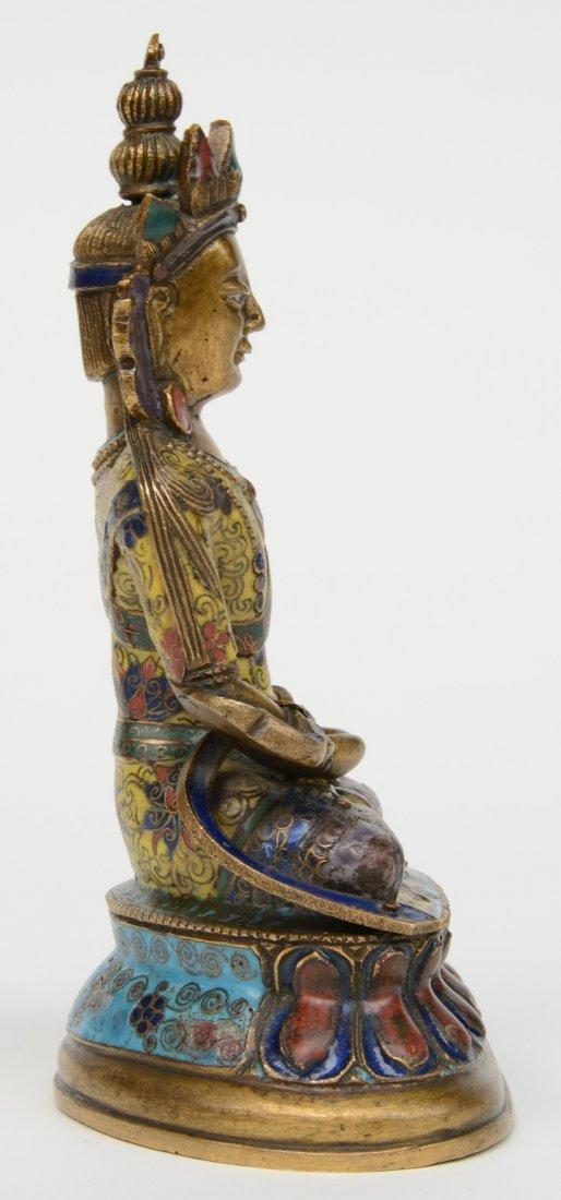 Tibetan cloisonné seated Buddha (Amitayus), 18thC, H - 4