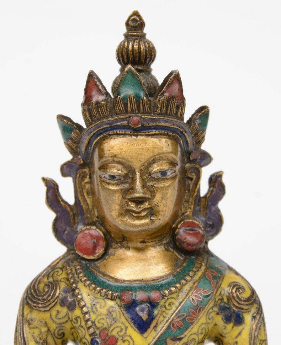 Tibetan cloisonné seated Buddha (Amitayus), 18thC, H - 6