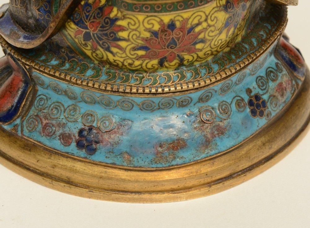 Tibetan cloisonné seated Buddha (Amitayus), 18thC, H - 7