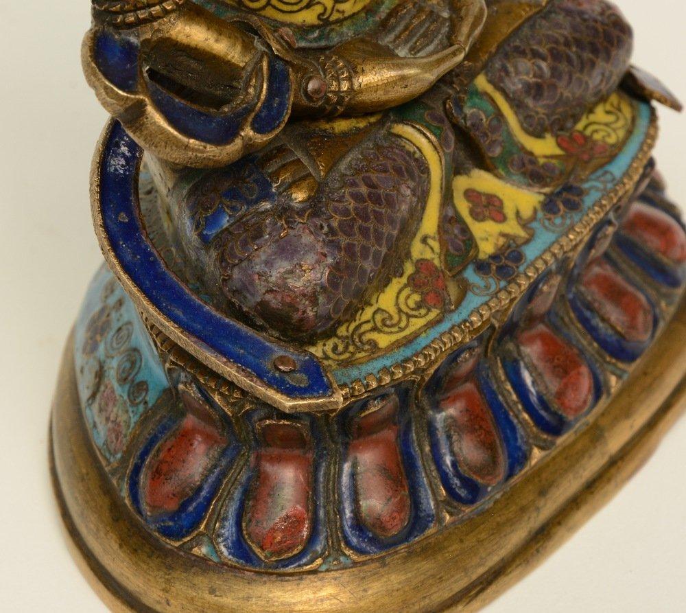 Tibetan cloisonné seated Buddha (Amitayus), 18thC, H - 8