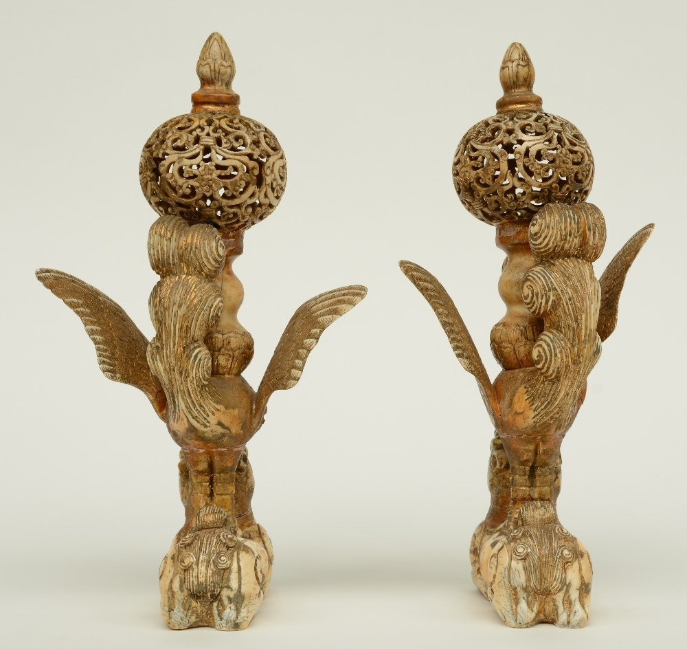 A pair of late 19thC - early 20thC ivory sculptures - 4