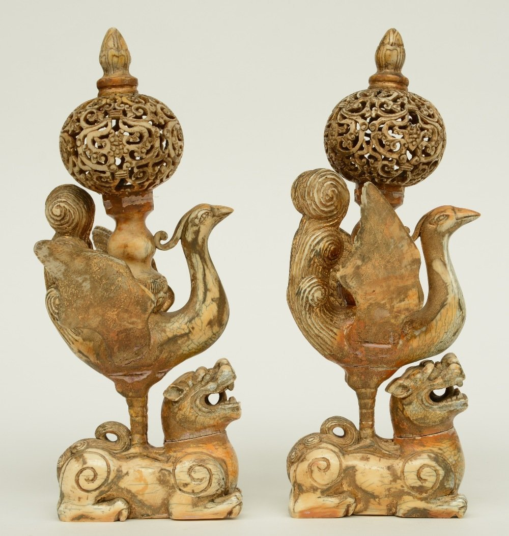 A pair of late 19thC - early 20thC ivory sculptures - 5