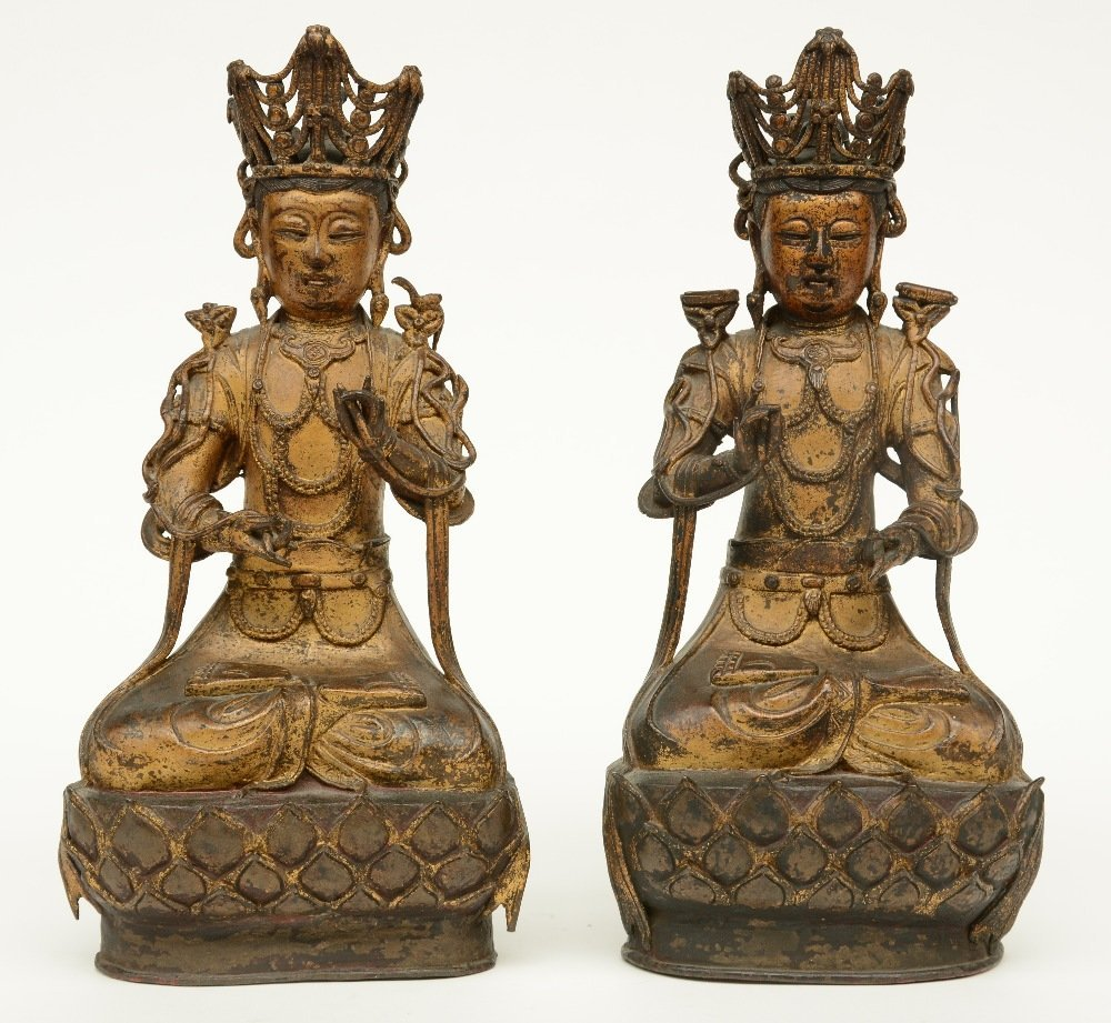 A pair of Chinese gilt and polychrome decorated bronze