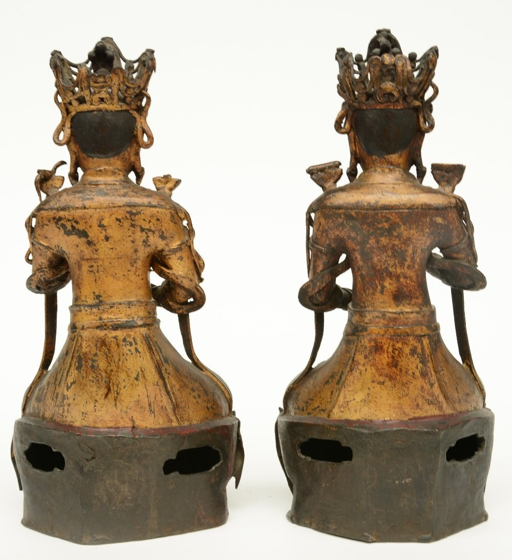 A pair of Chinese gilt and polychrome decorated bronze - 3