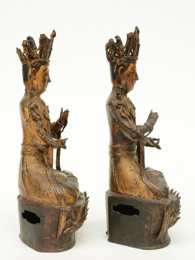 A pair of Chinese gilt and polychrome decorated bronze - 4