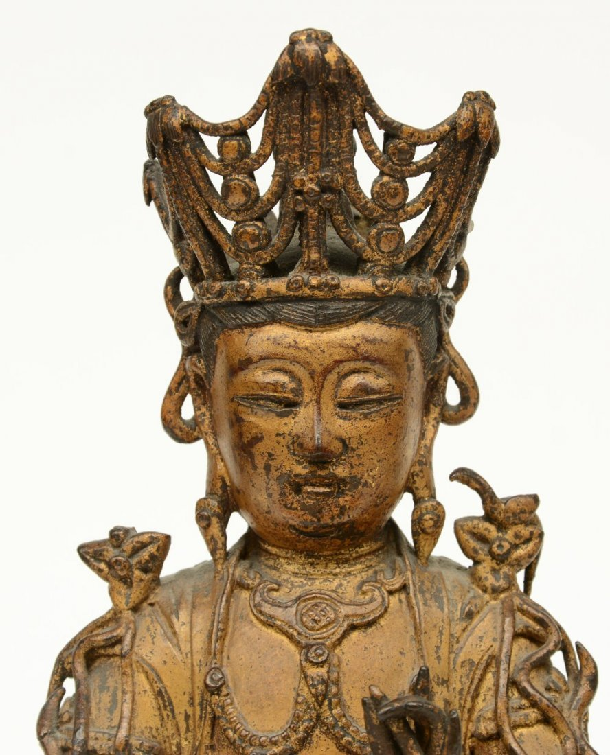 A pair of Chinese gilt and polychrome decorated bronze - 6