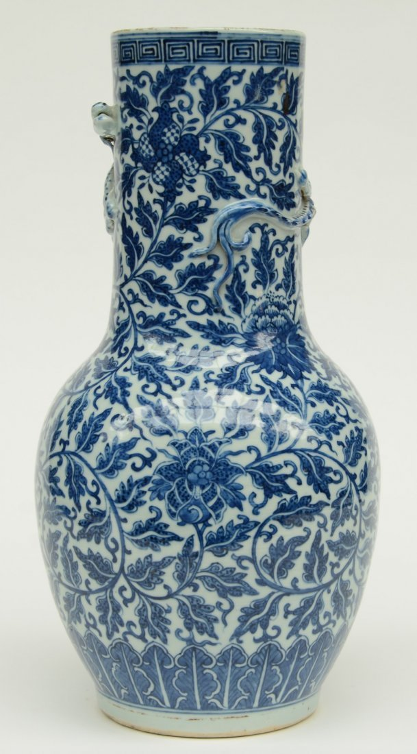 A Chinese blue and white and relief decorated vase, - 2