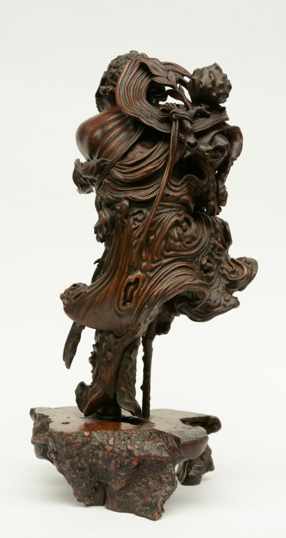 A Chinese walnut carved sculpture depicting a mythical - 3