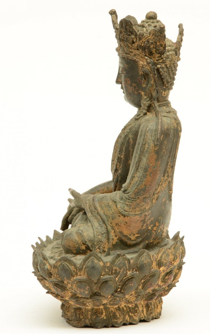 A Chinese bronze seated Buddha, traces of polychromy - 2