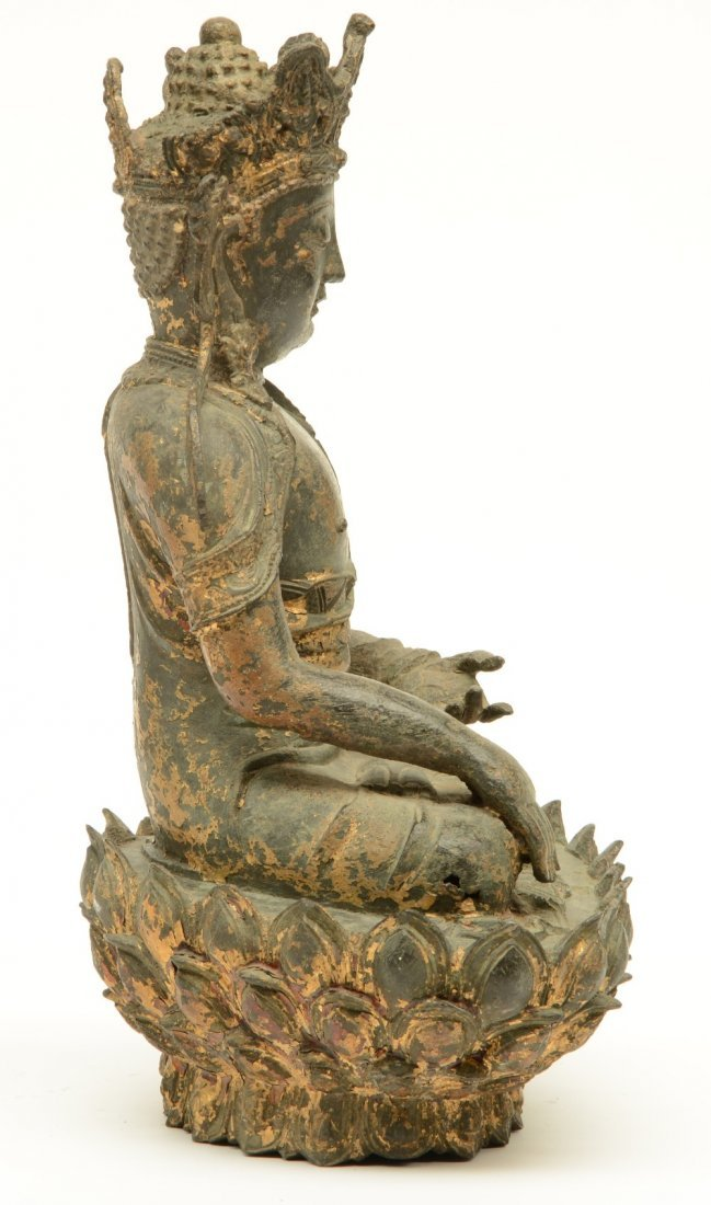 A Chinese bronze seated Buddha, traces of polychromy - 4