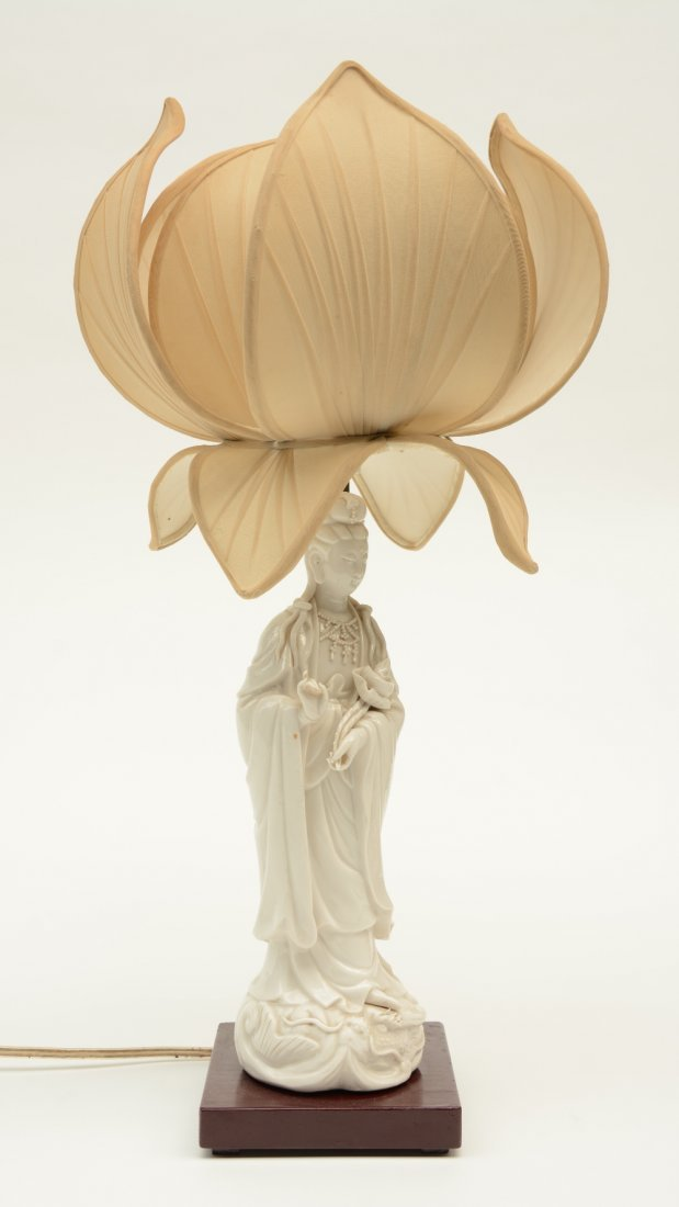 A Chinese Guanyin, Blanc de Chine, mounted into a lamp; - 2
