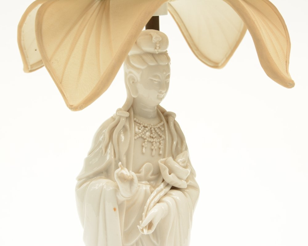 A Chinese Guanyin, Blanc de Chine, mounted into a lamp; - 4