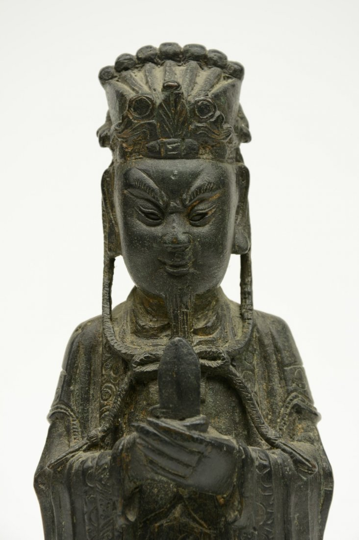 A Chinese bronze figure depicting a dignitary, probably - 6