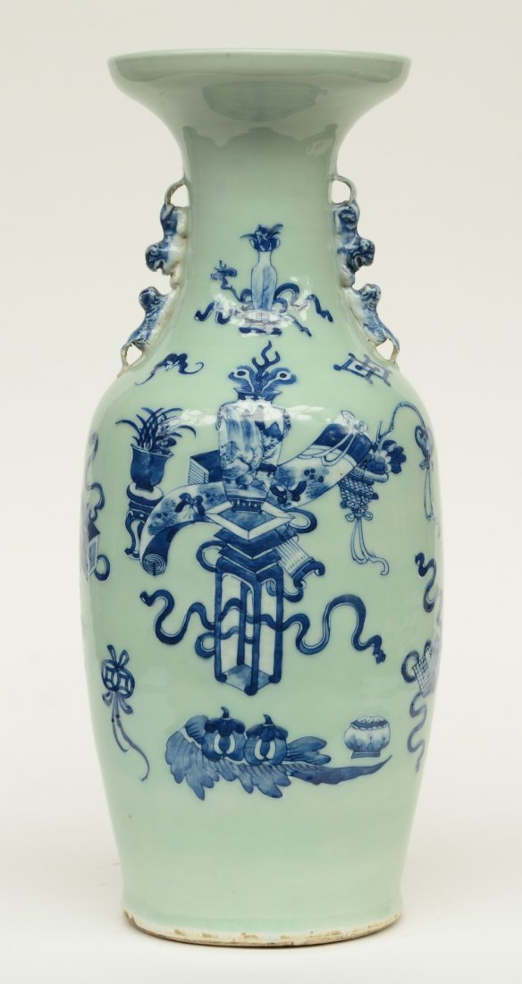 A Chinese celadon ground blue and white vase, decorated